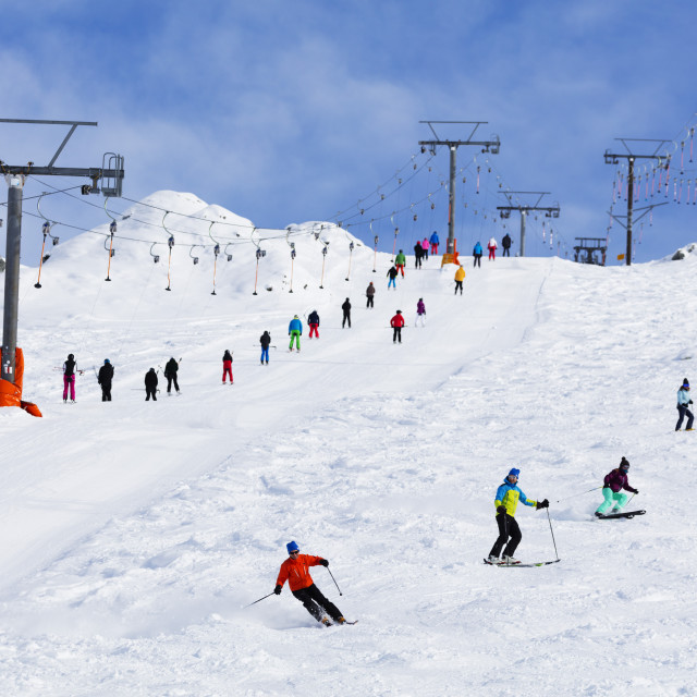 """Europe, The Alps, Switzerland, Valais, 4 Vallees, Veysonnaz (Verbier), skiers..."" stock image"