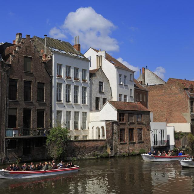 """Lieve River, Ghent, East Flanders, Belgium, Europe"" stock image"