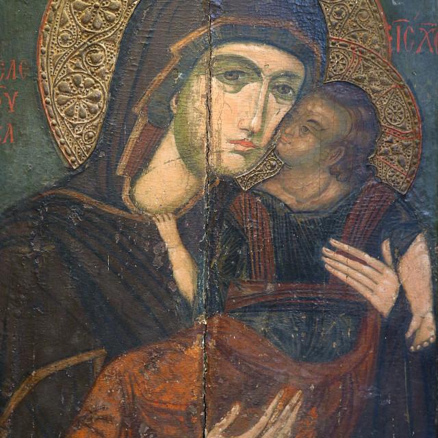 """Icon in Pedoulas byzantine museum : the Virgin Eleousa, 14th century."" stock image"