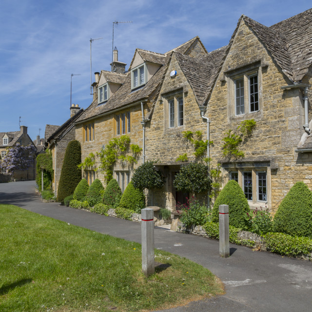 """""""Cottages in Lower Slaughter, Cotswolds, Gloucestershire, England, UK, Europe"""" stock image"""