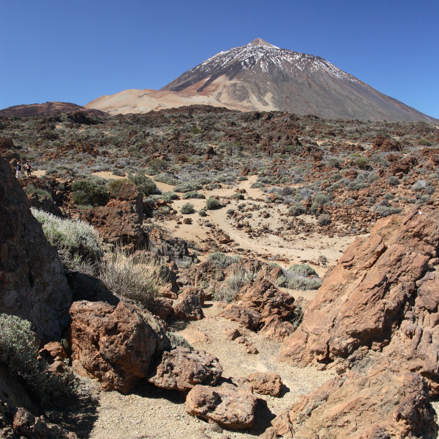 """""""The dormant volcano of Mount Teide and the surrounding volcanic landscape on..."""" stock image"""