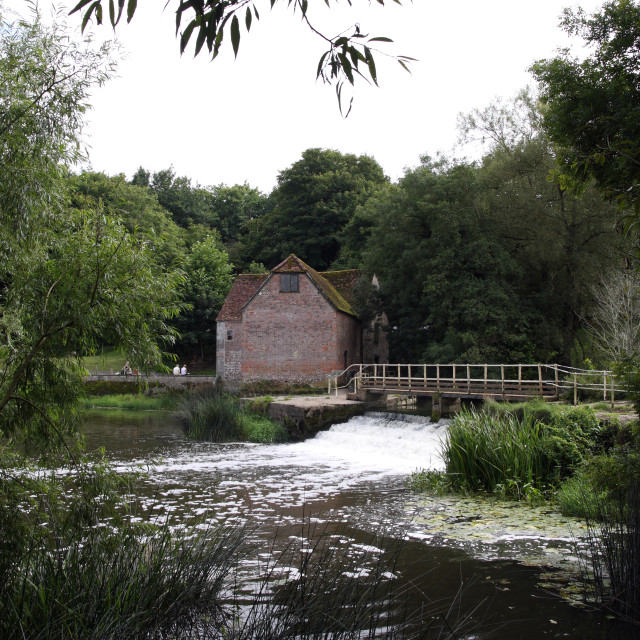 """""""The water mill in the village of Sturminster Newton in Dorset in England"""" stock image"""