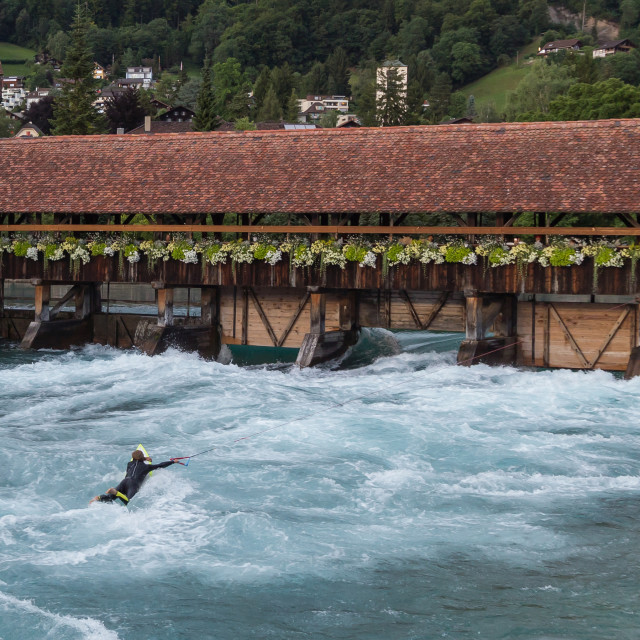 """""""Surfer on river Aare. Thun"""" stock image"""