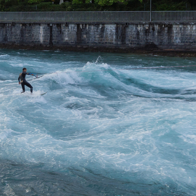 """Surfer on river Aare"" stock image"