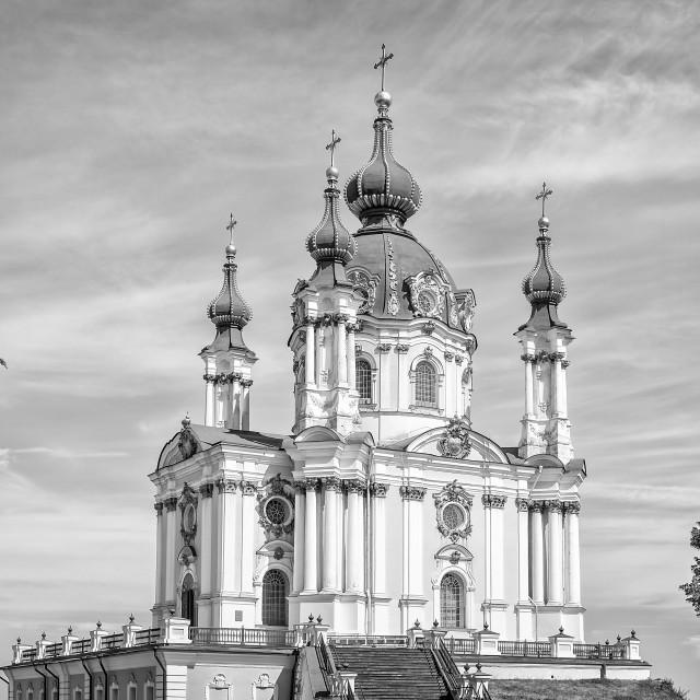 """""""Andriyivskyy church in Kiev"""" stock image"""