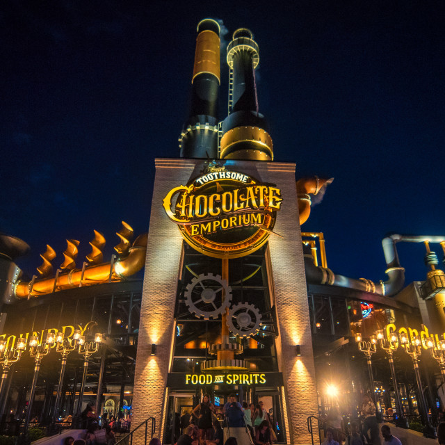 """Toothsome Chocolate Emporium Florida by Night"" stock image"
