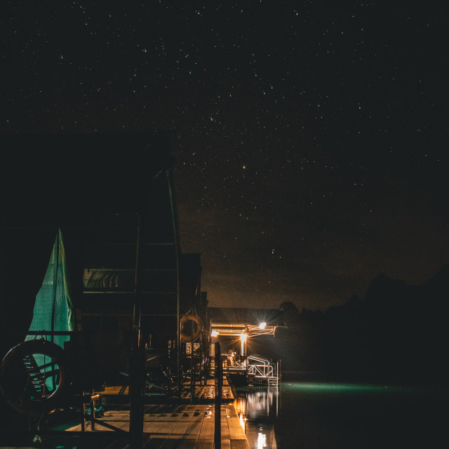 """Starry Night on the Lake"" stock image"