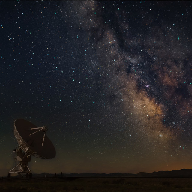 """Very Large Array with Milky Way at New Mexico"" stock image"
