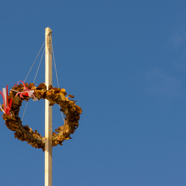 """Topping out wreath flowing in the wind"" stock image"