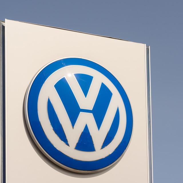"""""""Volkswagen brand against blue sky"""" stock image"""