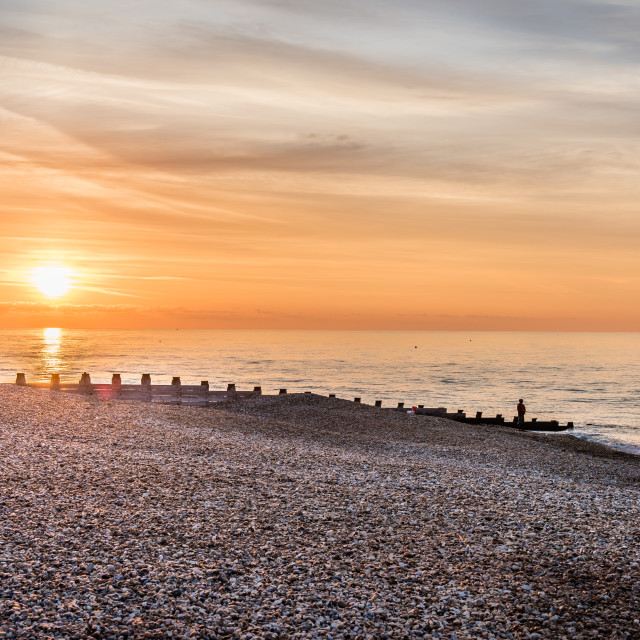"""Fishing at dawn, Eastbourne 16-8-17."" stock image"
