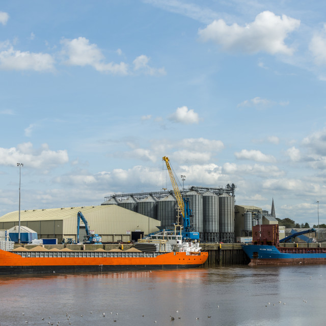 """""""Grain ships being loaded"""" stock image"""