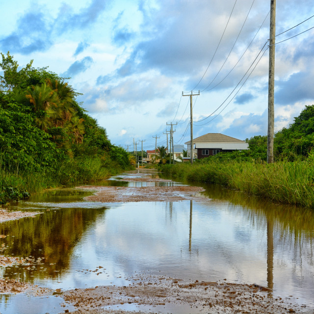 """Flooded road"" stock image"