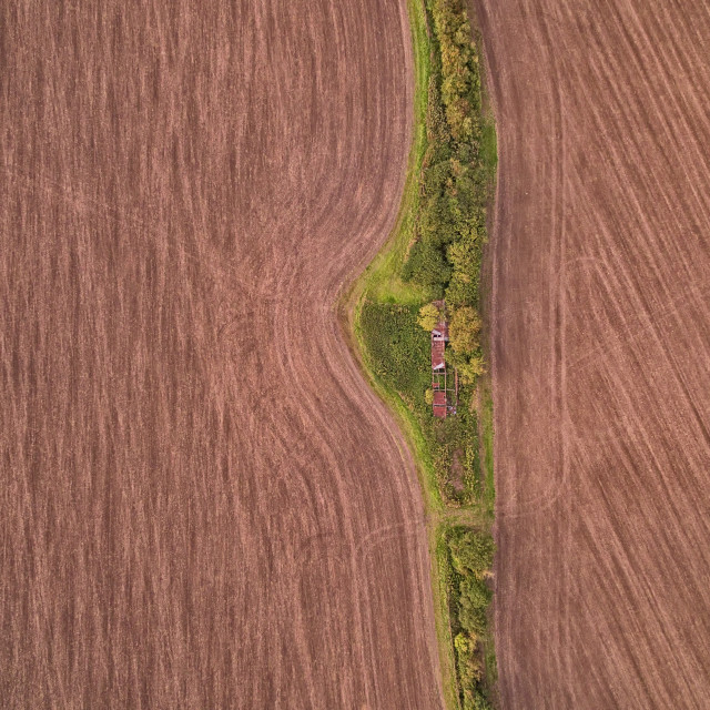 """Aerial View of Old Barn"" stock image"