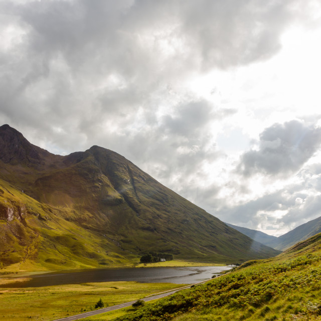 """Top view on valley and mountains in Scottish Highlands"" stock image"