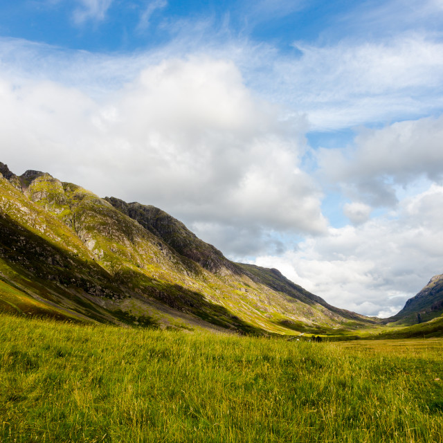 """Highlands in Scotland with green meadows, blue sky and white clo"" stock image"