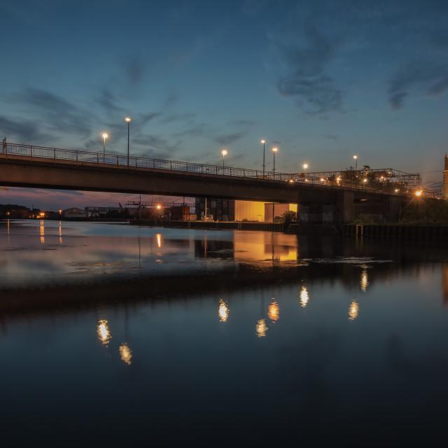 """Romantic Harbourscene Dortmund"" stock image"