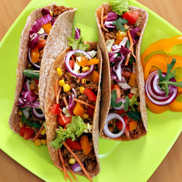 """tacos on plate fast food"" stock image"