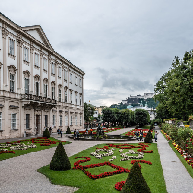 """Scenic view of Mirabell Gardens in Salzburg a rainy day of summe"" stock image"