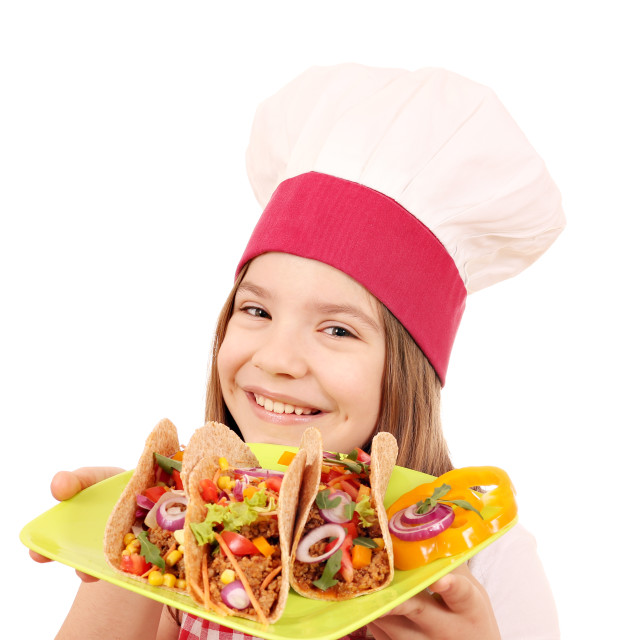 """happy little girl cook with tacos fast food"" stock image"