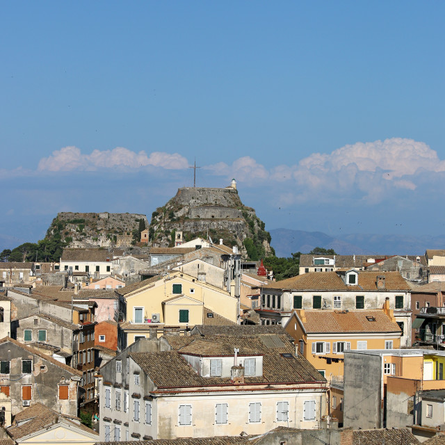 """old buildings and fortress Corfu town cityscape"" stock image"