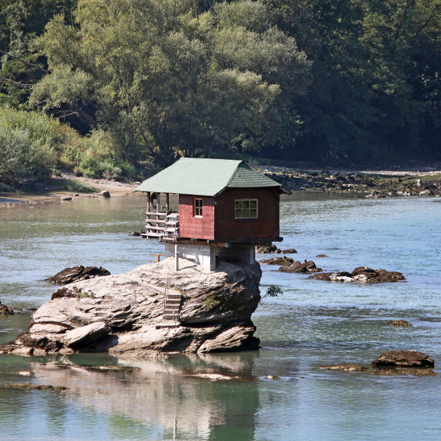 """house on rock Drina river Serbia"" stock image"