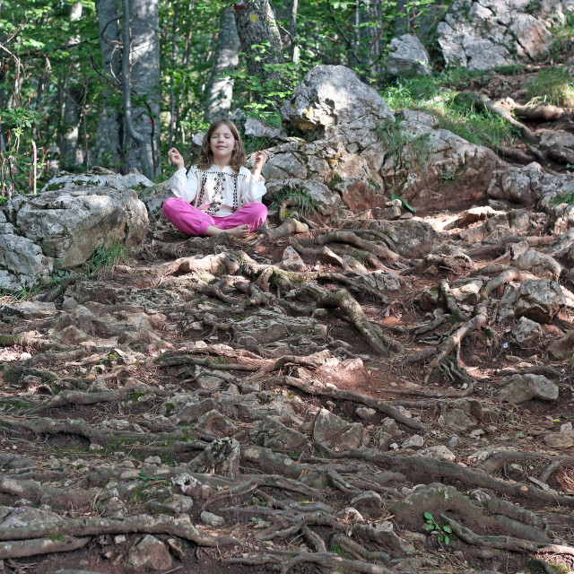 """little girl meditating in the forest"" stock image"