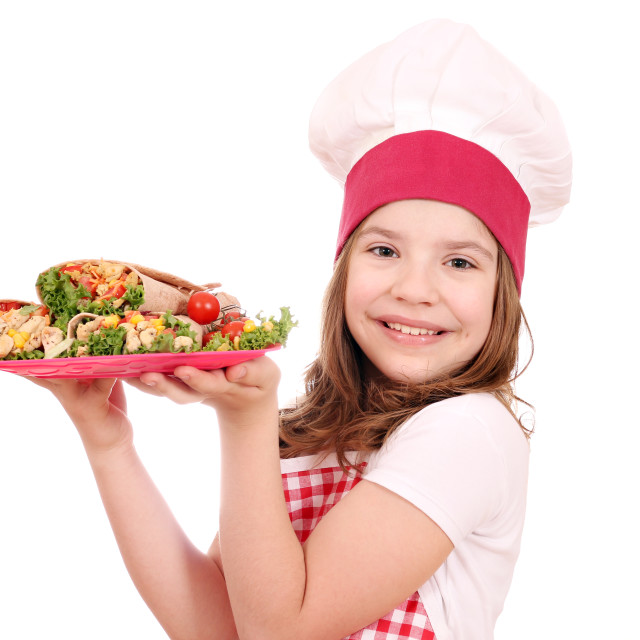 """little girl cook with burritos"" stock image"