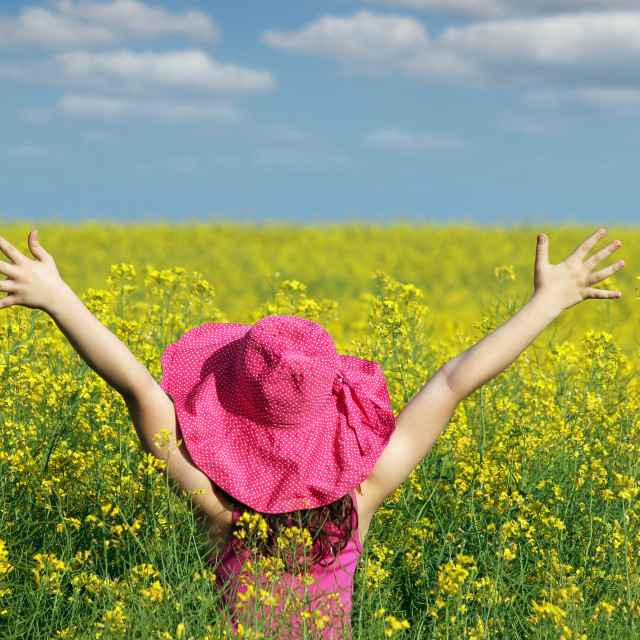 """little girl with hands up on field summer season"" stock image"