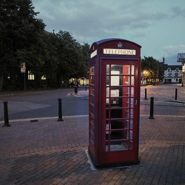"""""""Telephone box in early evening at Chester"""" stock image"""