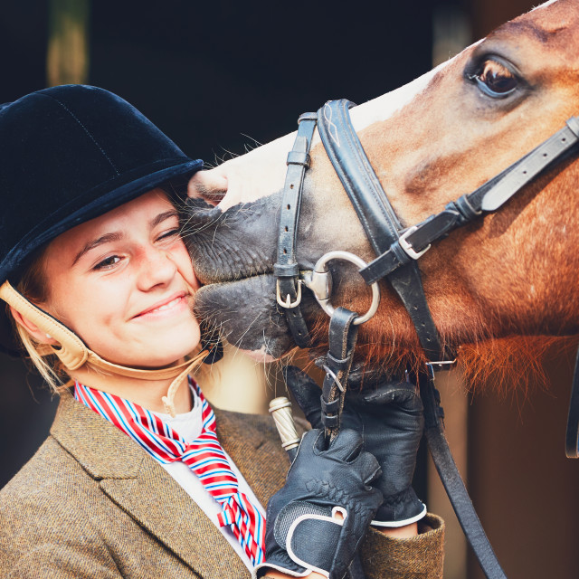 """Bond between horse and rider"" stock image"