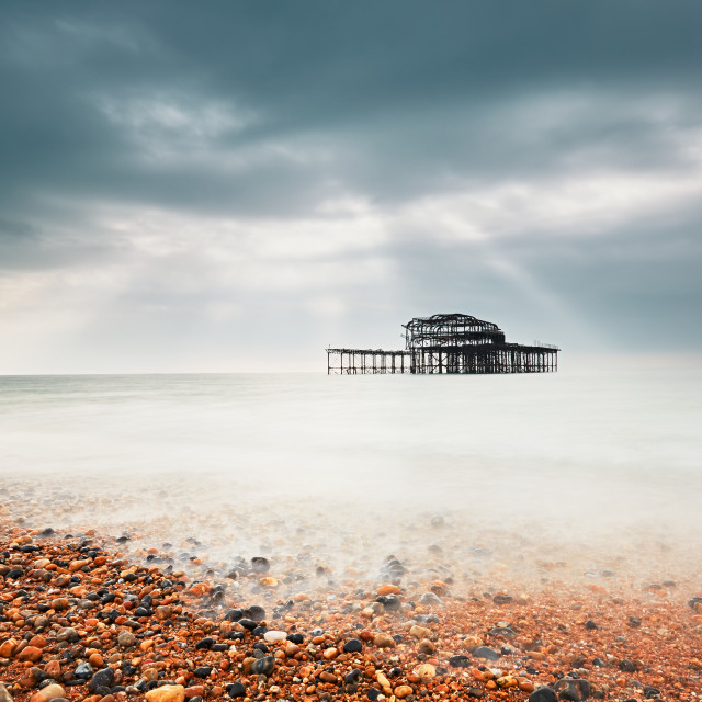 """Abandoned West pier"" stock image"