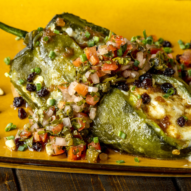 """Stuffed Poblano Peppers and Salsa"" stock image"