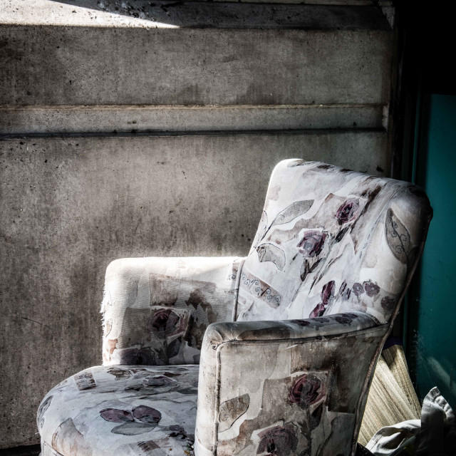 """A chintz covered chair"" stock image"