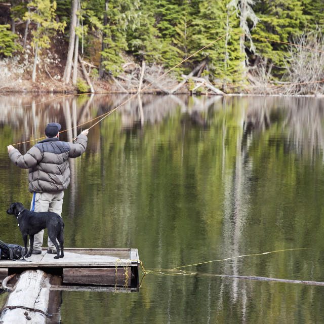 """Fly fishing at Loggers Lake; Whistler, British Columbia, Canada"" stock image"