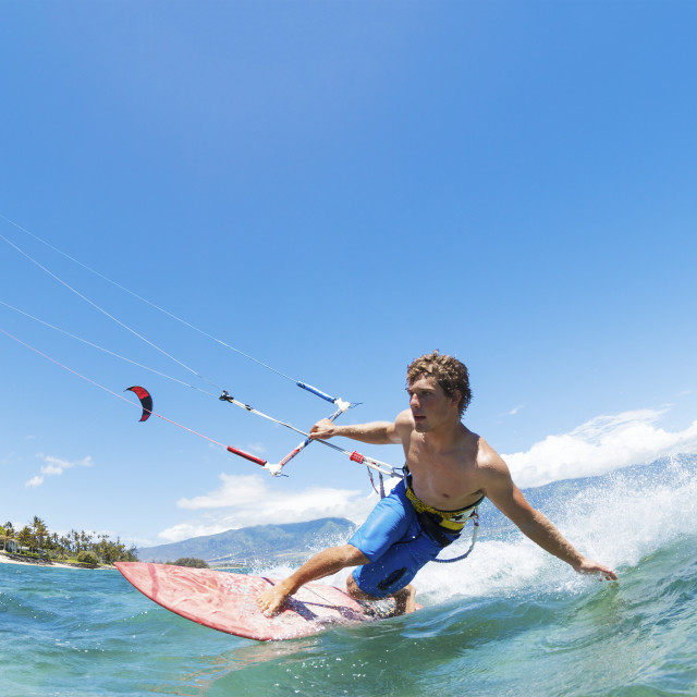 """""""Kite Surfing, Fun in the Ocean, Extreme Sport"""" stock image"""