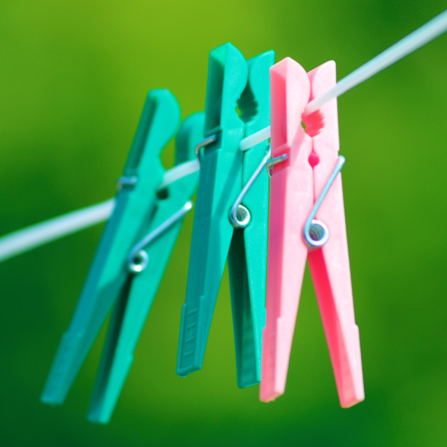 """Pegs hanging"" stock image"