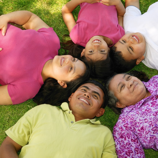 """""""Family Lying In Grass"""" stock image"""