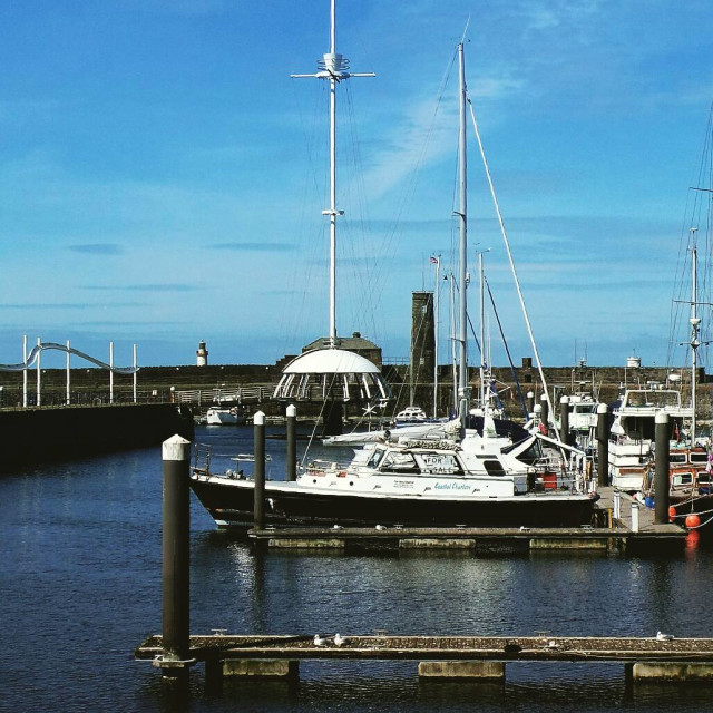"""Boats at Whitehaven Harbour"" stock image"