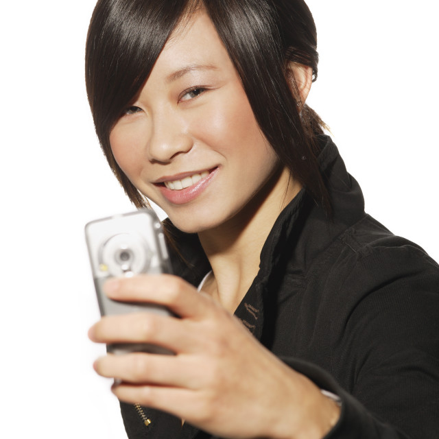 """""""Woman Holding An I-Pod"""" stock image"""