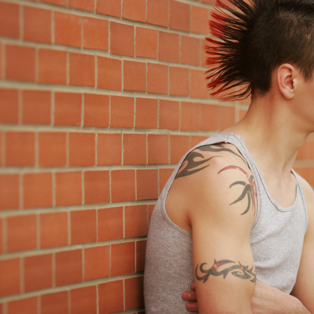 """""""Profile Of A Young Man With Mohawk"""" stock image"""