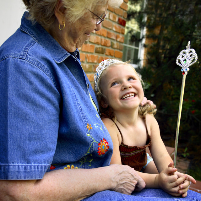 """""""Grandmother With Granddaughter Dressed Up As Princess"""" stock image"""