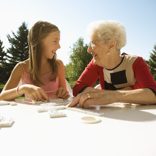 """Grandmother And Granddaughter Playing A Game"" stock image"