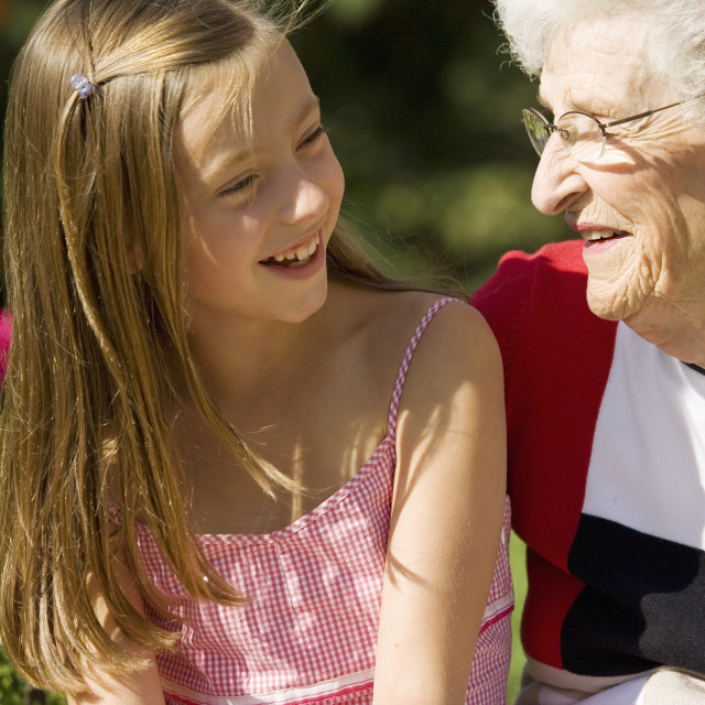 """Grandmother And Granddaughter"" stock image"