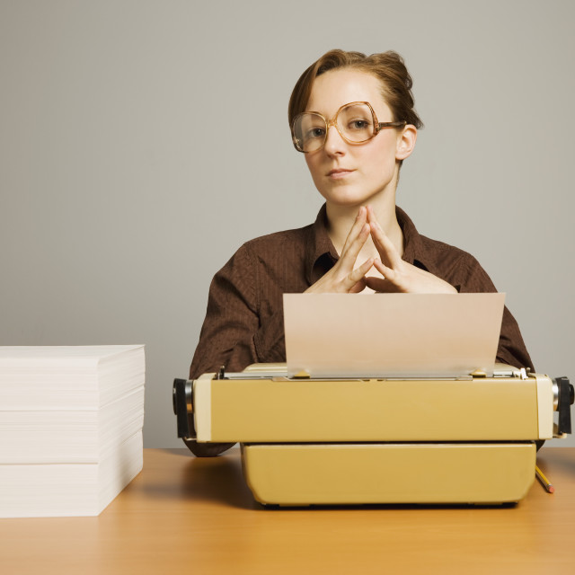 """""""Office Worker Sitting At Desk"""" stock image"""