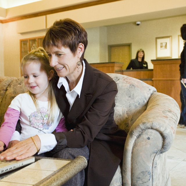 """Woman And Girl In Hotel Lobby"" stock image"