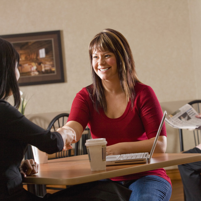 """""""Two Women Making A Business Deal"""" stock image"""