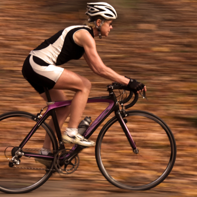 """""""Cyclist On Recreational Trail In The Autumn"""" stock image"""