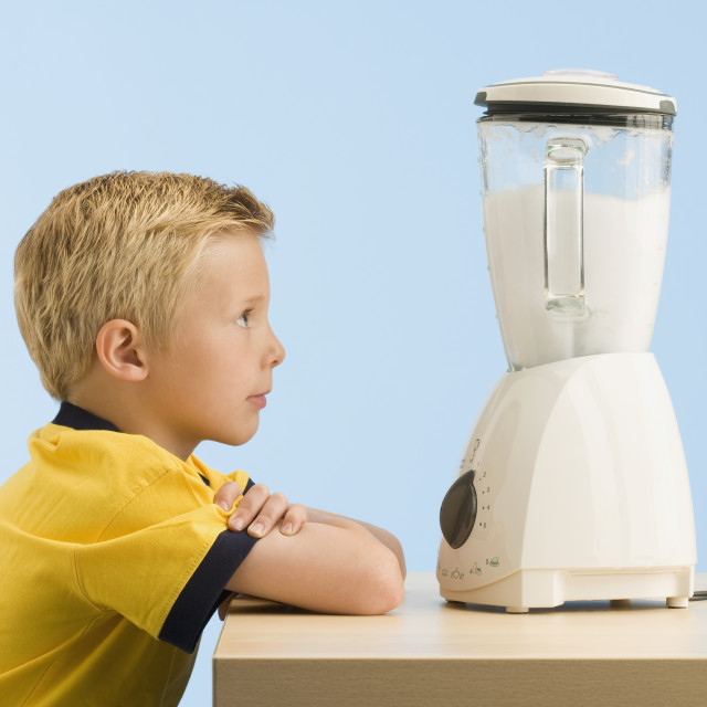 """Boy Looking At A Blender"" stock image"