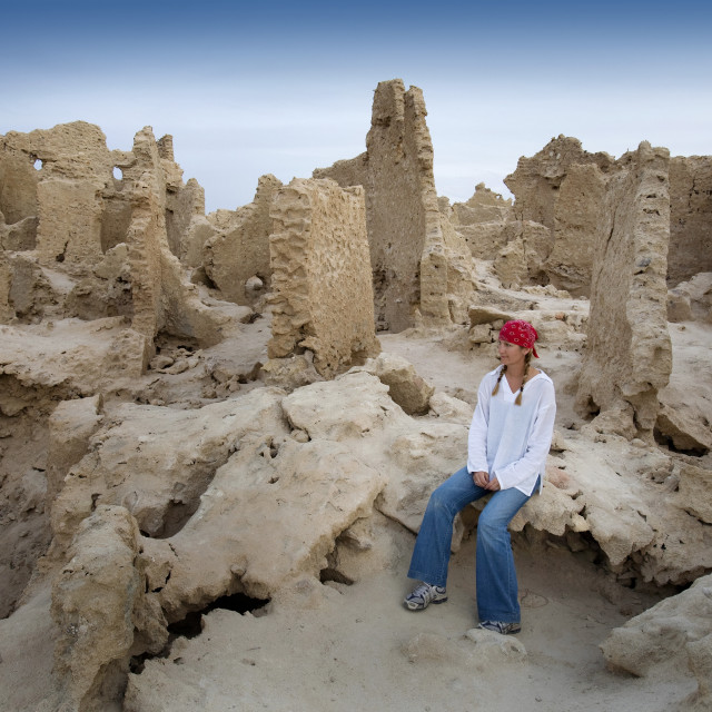 """Siwa Town, Siwa Oasis, Egypt, Africa; Tourist Enjoys Mud Brick Fortress Of Shali"" stock image"